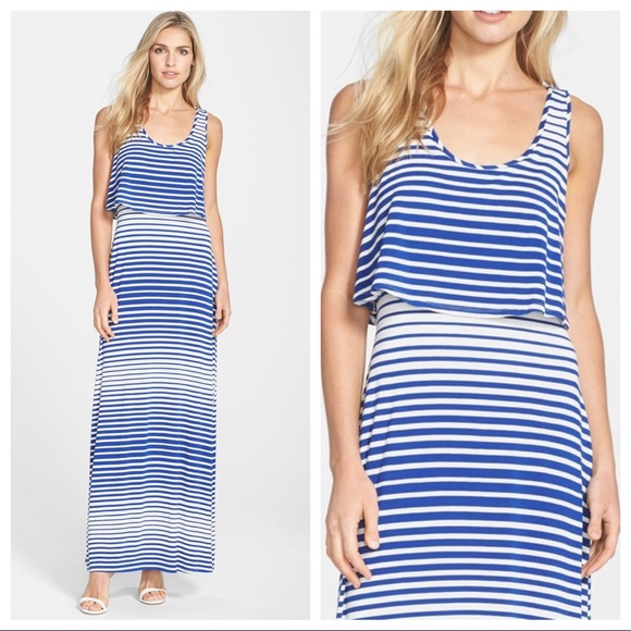 Betsey Johnson Dresses & Skirts - Betsy Johnson • Blue White Striped Maxi Dress